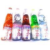 Dcross Value Set Shirakiku Carbonated Ramune Drink Mix Variety 5 Flavors 5 Bottles Japanese Soft Drink