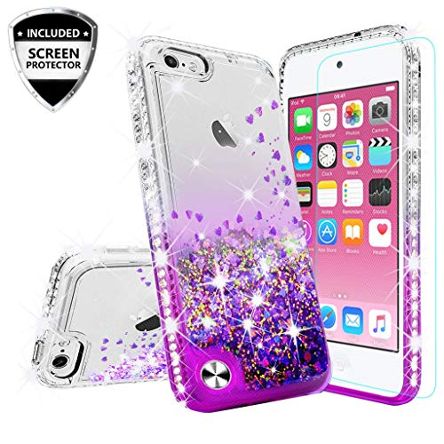 Cases for New iPod Touch Case,iPod Touch 6 Case,iPod 6/5 Case [Tempered Glass Screen Protector],Liquid Glitter Bling Quicksand Cover Compatible for Apple iPod Touch 5/6th/New iPod Touch - Purple/Clear