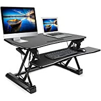 SIMBR Standing Desk Converter Computer Workstation Size 35.4in x22in for Home and Office (Black)