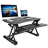 SIMBR Standing Desk Converter, Height Adjustable Sit Stand Desk Riser with adjustable Keyboard Computer Workstation Size 35.4in x22in for Home and Office(Black)
