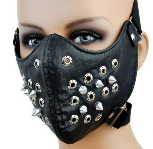 Black Spike Motorcycle Face Mask Protective Paint Ball Gear