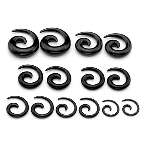 PiercingJ 14pcs 12G-00G Uv Acrylic Spiral Snail Plug Ear Stretching Kit (Many Colors) (Black)
