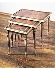 طقم ترابيزات ثلاثي متداخل خشب طبيعي قشرة طبيعي 3 قطع بني