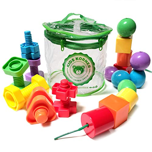 Jumbo Stringing Beads & Nuts and Bolts for Smart Boys and Girls - Montessori Primary Lacing Bead Toy & Matching Fine Motor Skills Set with Toy Storage & Learning Activities eBook & 25pc Manipulatives ()