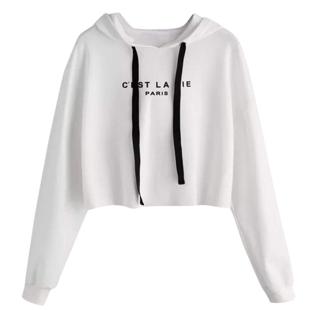 Clearance Women's Sweatshirts Sunday77 Letters Hoodie Solid Lumbar Long Sleeve Pullover Blouse Sweatshirts for Ladies