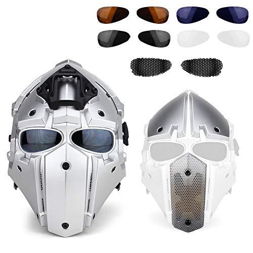 QZY Casque De Protection Modulaire pour Moto pour Entraînement Militaire Airsoft-Silver 5