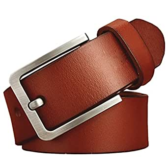 """JingHao A18 Casual Belts for Men Genuine Leather Belt for Jeans & Dress Black Brown Big and Tall Size 28""""-63"""" (2XL 40""""-42"""" Length 125cm, Brown)"""