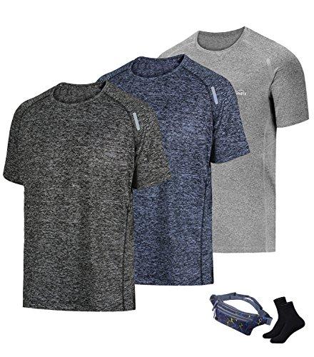 tic T-Shirt Workout Sports Tech Short Sleeve tee Shirts Gym Dri Fit Training Clothes ()
