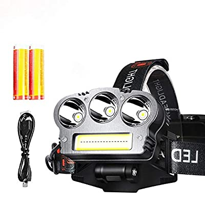 Jumedy LED Headlamp,Spotlight Headlamp,Rechargeable Flashlights, Waterproof Light,Camping,Hiking,Mining Light,Hunting