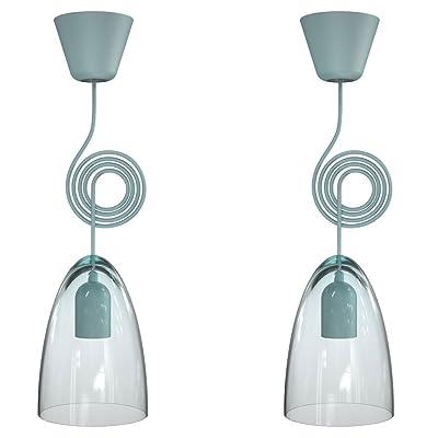 2 x lustre luminaire suspension éclairage chambre Á coucher turquoise clair