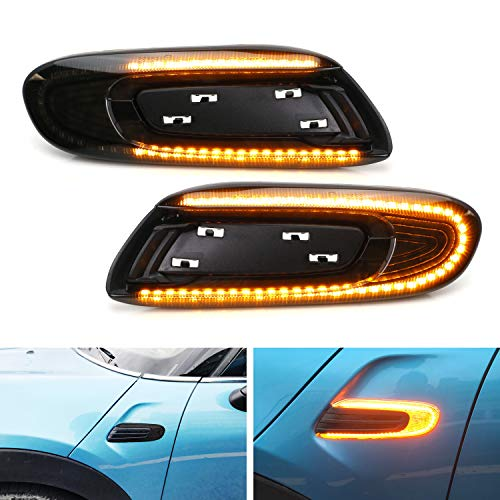 iJDMTOY Euro Smoked Lens Sequential Blink Amber LED Fender Side Marker Light Kit Compatible with Mini Cooper F55 F56 F57 Hardtop/5-Door/Convertible, 56 LED Diodes, Replace OEM Amber/Clear Sidemarkers