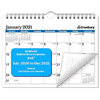 Small Wall Calendar 2020-2021 (Blue), Cute Mini Bulletin Board Calendar for Wall or Desk, 8x6 Inches, Use from July 2020 to December 2021, School Year Academic Calendar, Bonus Stickers Included
