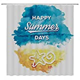SATVSHOP Shower-Curtain-Set-for-Bathroom-Showers,-Stalls-and-Bathtubs-LIF-tyle-Happy-Summer-Days-Quote-with-Starfish-Sunny-Holiday-Watercolor-Dign-Blue-Mustard.W72-x-L96-inch