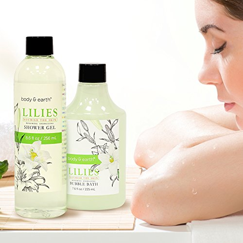 Gift Baskets for Women, Body & Earth Spa Gifts for Her, Lily 10pc Set, Best Gift Idea for Women