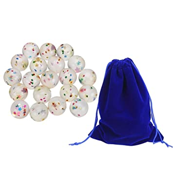LOKIPA 24 Crystal Bouncy Bouncing Balls 27mm Egg Shape Ball for Kids Party...