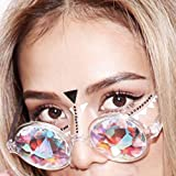 KCPer Fashion Chic Diffracted Funny Unisex Visual Experience Photo Props Integrated Rave Festival Party Glasses (White)