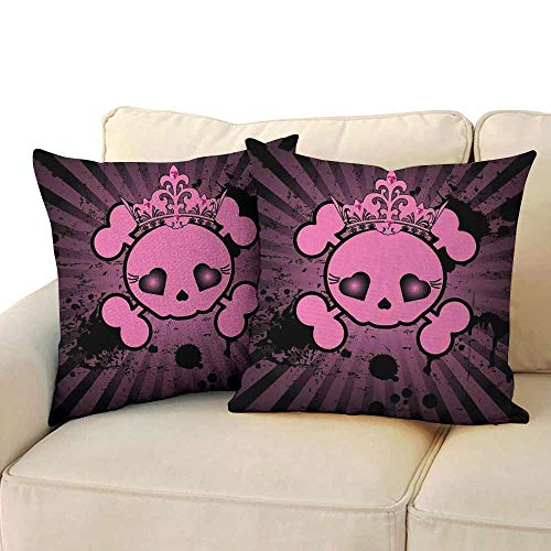 Marilec Living Room Sofa Hug Pillowcase Skull Cute Skull Illustration with Crown Dark Grunge Style Teen Spooky Halloween Print Soft and Durable W 16