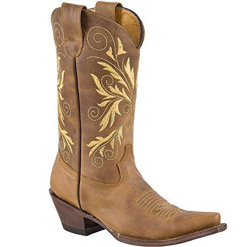 Vrouwen Cowboy / Meisje Echte Koeienhuid Beste Kwaliteit Leer Snip Teenlaarzen Tan