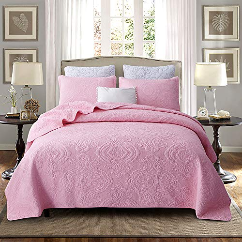 Brandream Luxury Pink Bedding Set 3 Piece Damask Embroidery Coverlet Quilt Set Queen Size 100% Cotton (Set Pink Queen Damask Comforter)