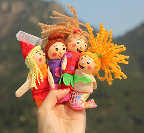 4Pcs/1 Set New Arrival Kids Baby Toys Funny Finger Doll Pretty Little Mermaid Christmas Animal Finger Puppet Finger Toy