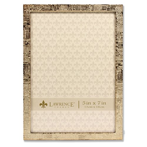 Lawrence Frames 5x7 Gold Metal Linen Pattern Picture Frame