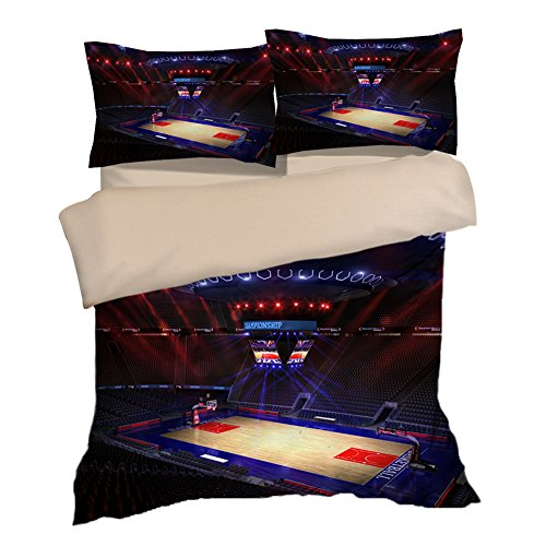 Gorgeous Basketball Court Image Cotton Microfiber 3pc 80''x90'' Bedding Quilt Duvet Cover Sets 2 Pillow Cases Full Size by DIY Duvetcover