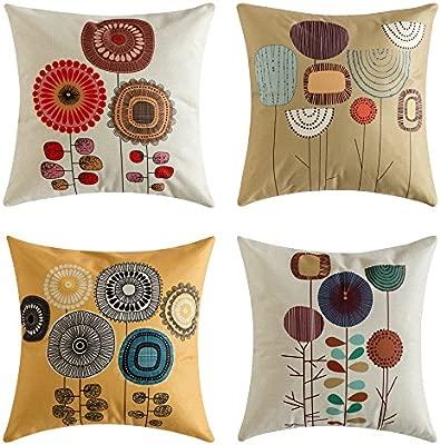 MIULEE Juego de 4 Lino Cojines Girasol Funda de Cojín Almohada Caso de Decorativo Cojines para Sala de Estar sofá Cama Coche 18