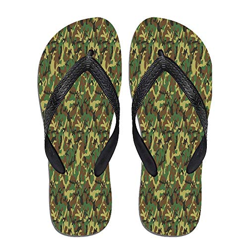 TecBillion Camo Beach Flip Flops,Woodland Camouflage Pattern,for Men&Boys ()