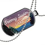 Dogtag Lake retro design Enemy Swim Lake Dog tags necklace - Neonblond