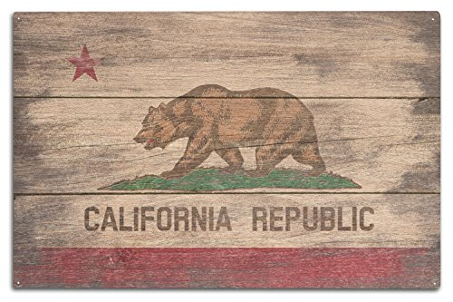 (Lantern Press Rustic California State Flag (10x15 Wood Wall Sign, Wall Decor Ready to Hang))