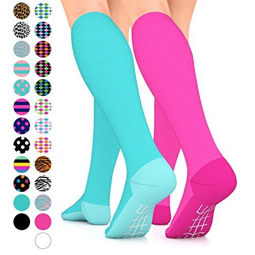 Go2Socks GO2 Compression Socks for Women Men Nurses Runners 15-20 mmHg (Medium) - Medical Stocking Maternity Travel - Best Performance Recovery Circulation Stamina (2SolidTurquoise&SolidPinkLC)