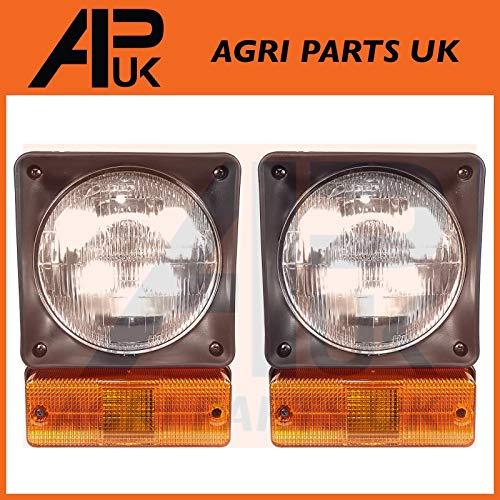 APUK PAIR Front Headlight Head Lamp Light Unit Indicator COMPLETE SET Compatible with JCB 2CX 3CX 4CX: