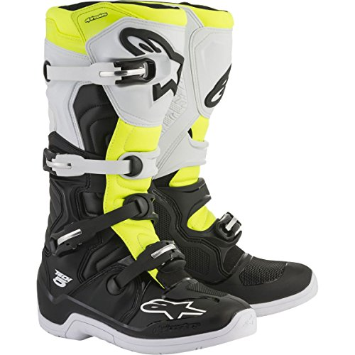 Alpinestars Tech 5 Boots-Black/White/Yellow Flo-10 by Alpinestars