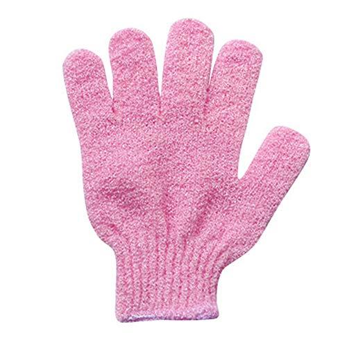 (❤SU&YU❤Gloves Exfoliating Wash Skin Spa Bath Gloves Foam Bath Skid Resistance Body Massage Cleaning Loofah Scrubber (Pink))