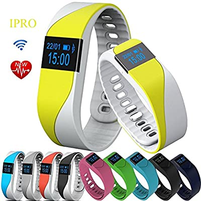 IPRO M2S Wearable Smart Bracelet with Heart Rate Monitor Waterproof Sports Activity Pedometer Sleep Calorie Monitor Exercise Fitness Tracker w/ Self Photo/Anti-lost for IOS&Android System
