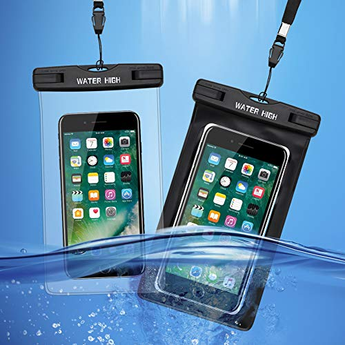 Waterproof Phone Pouches (2 Packs), Waterproof Phone Cases for iPhone X XS XR 8 7 6 6S Plus, Samsung Galaxy S9 S8 Note 8 6 5 4, Clear and Black