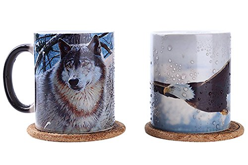 Color changing Mug Cup 13oz Pack of 2 (Wolf and Eagle)