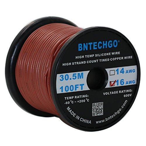 Brown Wire 100ft Spool - BNTECHGO 16 Gauge Silicone Wire Spool Brown 100 feet Ultra Flexible High Temp 200 deg C 600V 16 AWG Silicone Rubber Wire 252 Strands of Tinned Copper Wire Stranded Wire for Model Battery Low Impedance