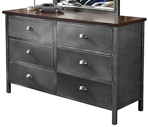 - Hillsdale Furniture 1265-717R Urban Quarters 6 Drawer Metal Dresser, Black Steel/Antique Cherry Finish