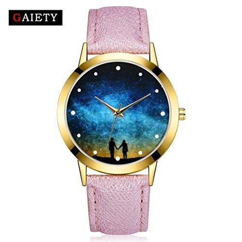 Quartz Wrist Watch, Women Fashion Starry Sky Leather Band Analog Round Watch (Fossil Casual Belt)