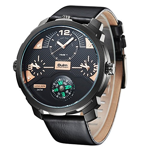 Oulm Brand Big Dial Mens Watches Sports Quartz Wrist Watch Compass For Decoration Three Time Zone Pu Strap Watch
