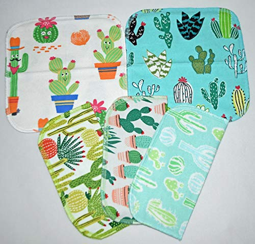 1 Ply-Printed Flannel *Cactus Cuties* 8x8 in. (5 Pack) - Little Wipes (R)