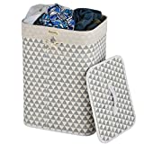 Caroeas Laundry Hamper, Triangle Pattern Laundry Basket Collapsible with Removable Liner and Handy Lid, Natural Bamboo Rectangle Laundry Basket Stably Standing by Metal Frame