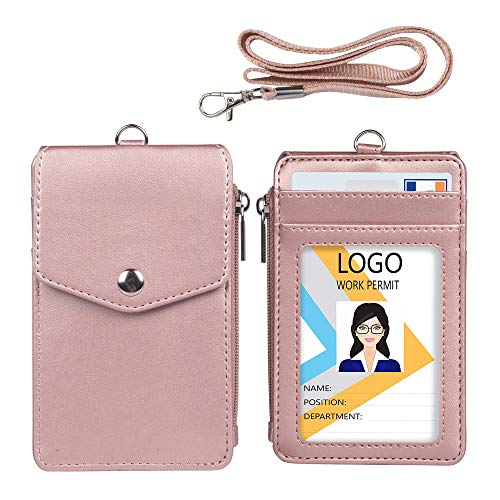 Leather Badge Holder with Lanyard,1 Clear ID Window and 3 Card Slots with Secure Snap Button Cover, 1 Zipper Wallet Pocket,1 Durable Nylon Lanyard for Offices ID,School ID, Credit Cards,Driver -