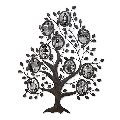 Oval Antique Finish (Adeco PF0569 Decorative Black Metal Family Tree Wall Hanging Collage Picture Photo Frame; 10 Oval Openings, 4.5x5.5