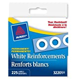 "Avery Self-Adhesive Hole Reinforcement Labels, 1/4"", White, Round, 225 Labels, Permanent (32201)"