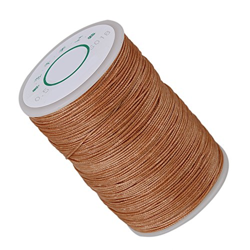 0.5mm 120m Polyester Waxed Line Leather Craft Sewing Wax Thread Cord (Light Brown)