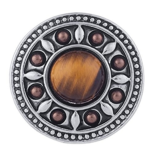 My Prime Gifts Interchangeable Snap Jewelry Cat's Eye Brown Stone 18-20mm Snap