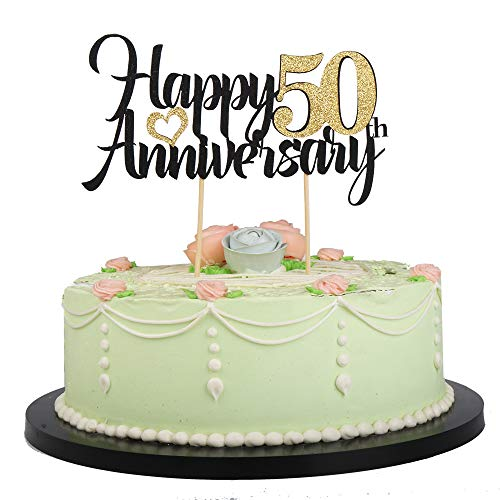 LVEUD Happy Birthday Cake Topper Black Font Golden Numbers Happy 50th Anniversary Birthday Cake Topper-Wedding,Anniversary,Birthday Party Decorations (50th) -