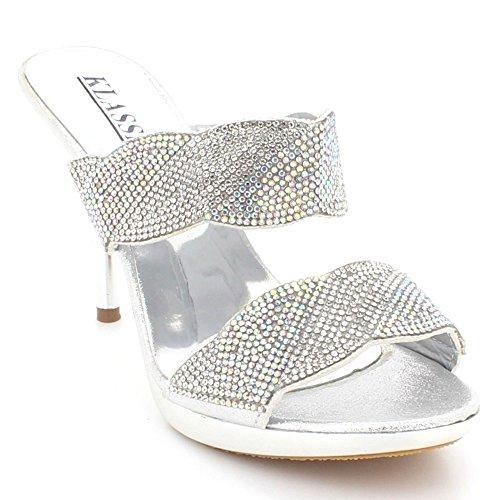 AARZ LONDON Women Ladies Diamante Evening Wedding Party Prom Bridal High Heel Open Toe Slip on Sandal Shoes Size Silver CljtJSPSK